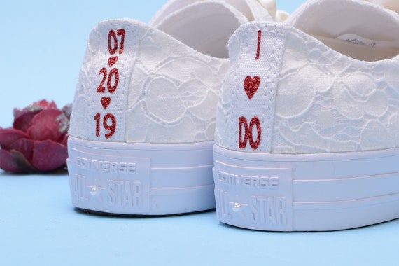 Personalised Ivory Wedding Converse For Bride, Monogrammed Low Top Chuck Taylor for Reception