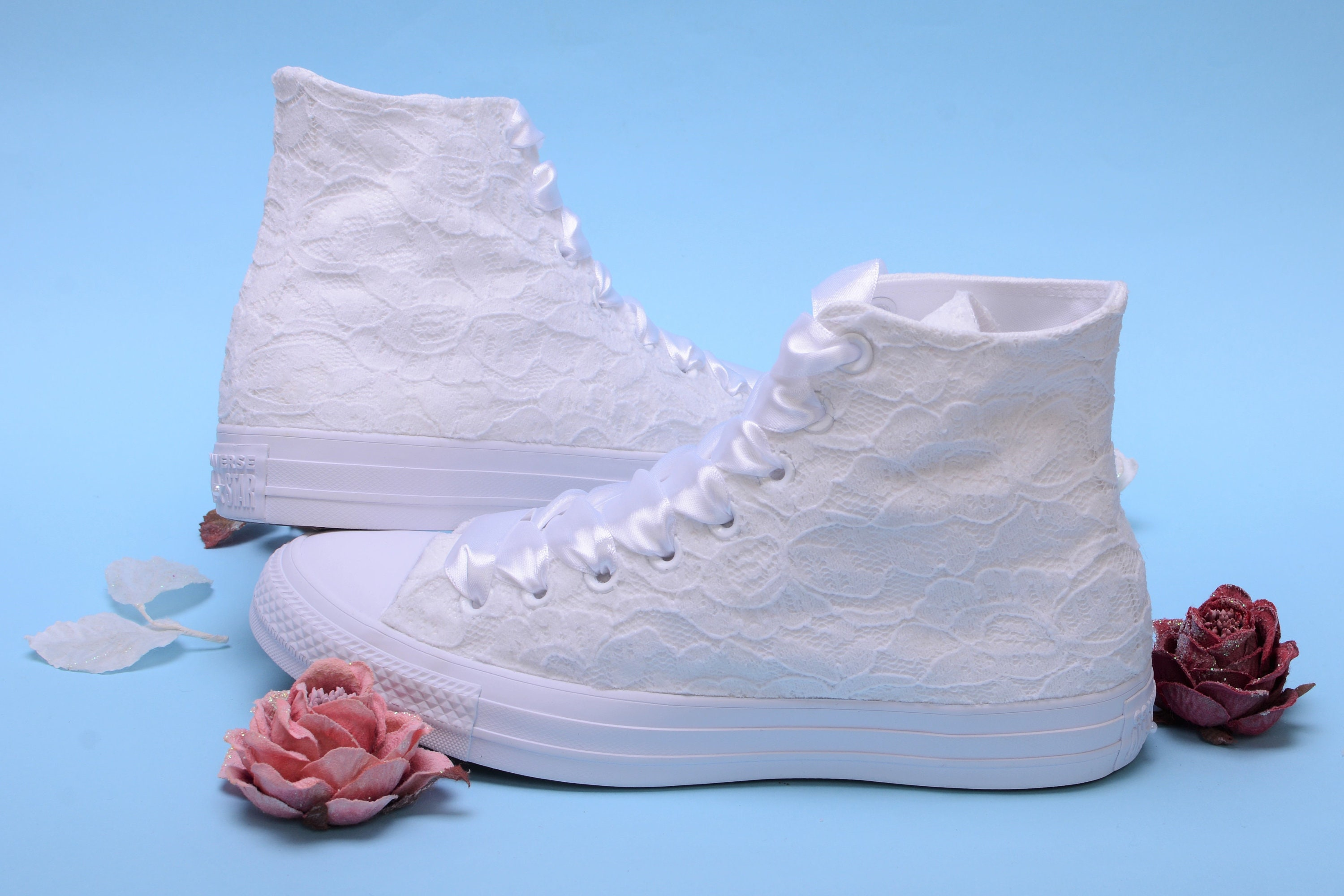 ebc8d4fb521011 White High Top Wedding Converse For Bride