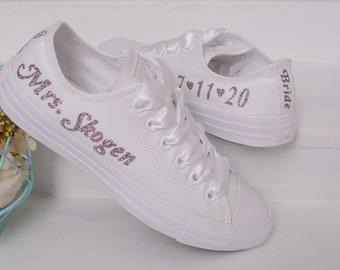 Personalized Wedding Converse For Bride, Personalised Bridal Trainers, Custom Converse For Reception
