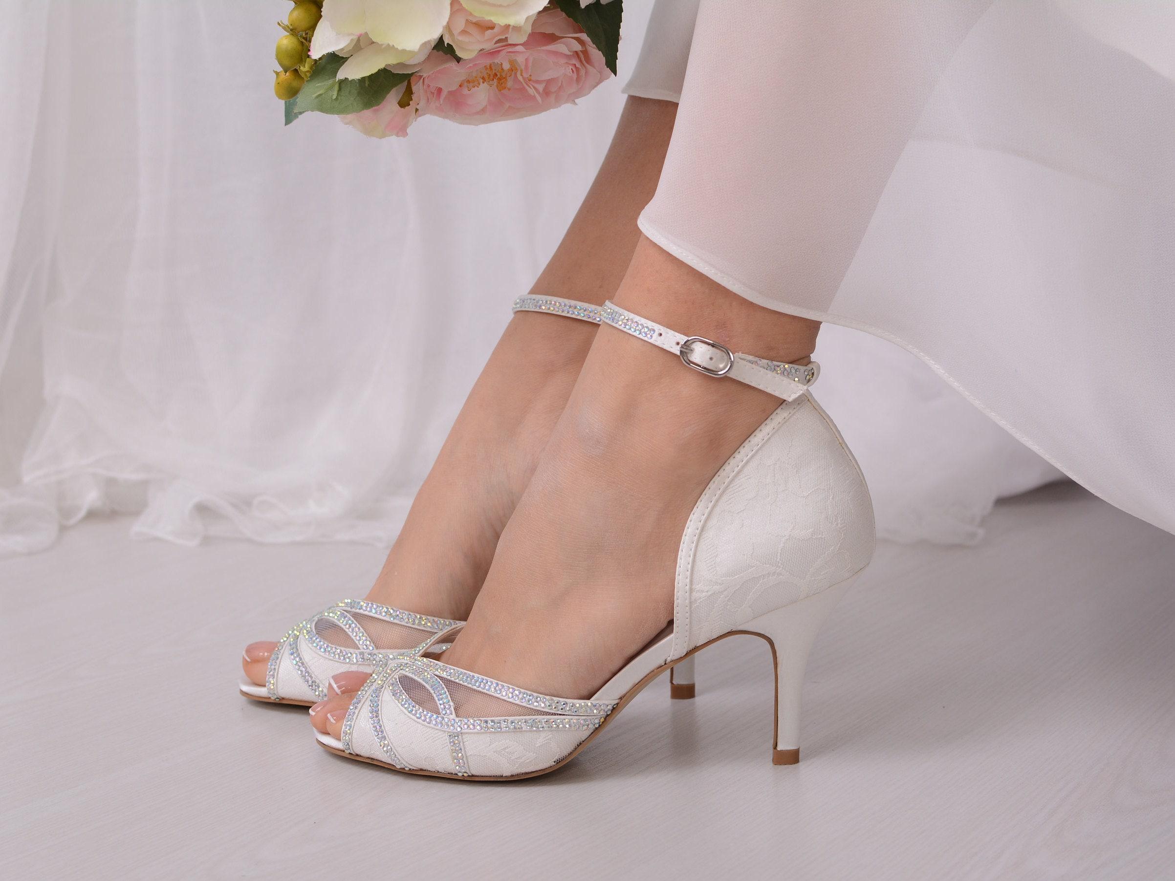 Ivory Wedding Heels For Bride Lace Bridal Wedding Shoes Bridal