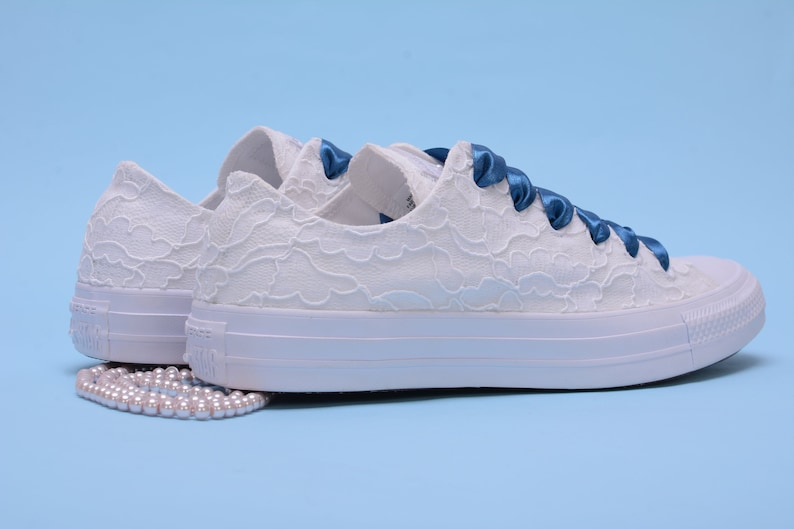 4df682f9c1ab White Lace Converse Shoes For Bride White Bridal Converse
