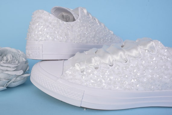 Ivory Wedding Converse Low top, Awesome Converse Shoes, Lace  Converse For Bride