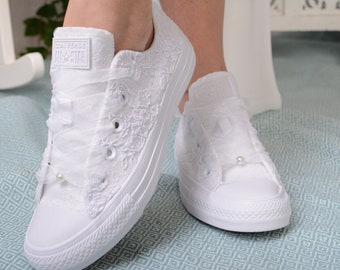 Luxury Ivory Wedding Converse Lace Low Top, Custom Converse Shoes For Bride, Personalized Bridal Low top Tennis Shoes with Dubai Lace