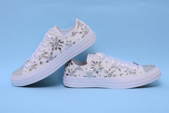 d8adc13ffb6 Custom Converse Sneakers With Rhinestone Wedding Sneakers