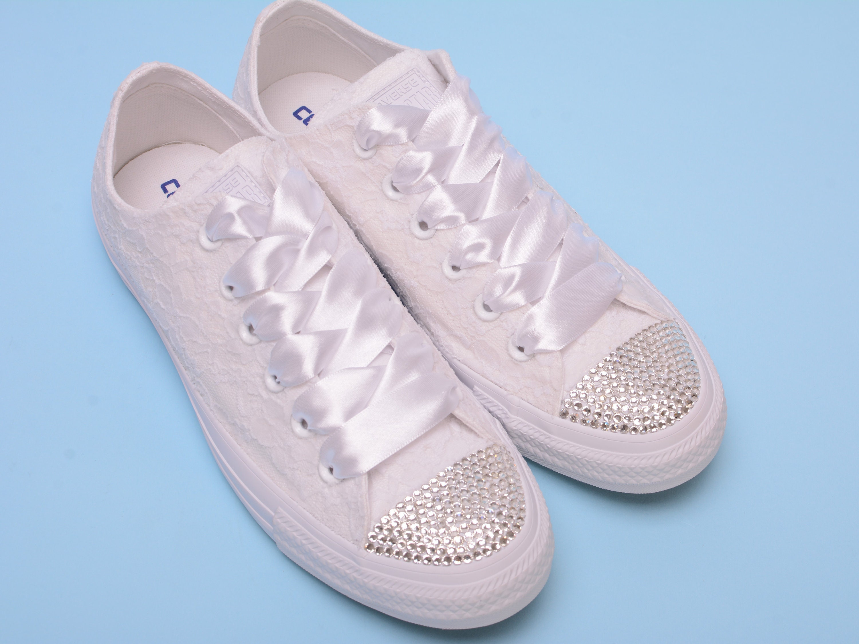 b8d2bb1062e03 Custom converse sneakers with Rhinestone Converse bling wedding ...