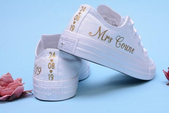 Personalised Converse For Bride, Custom Wedding Converse Sneakers