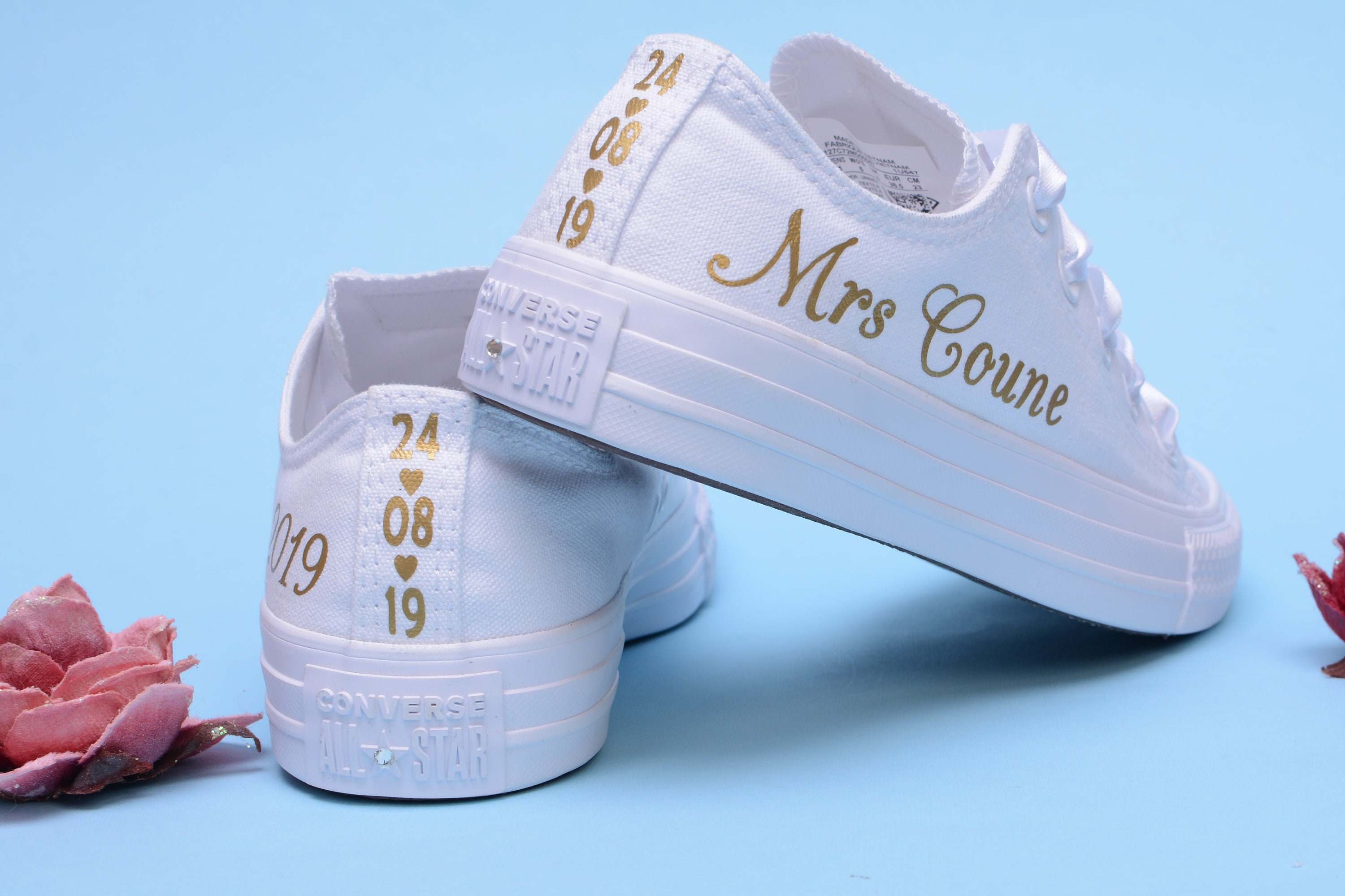 b404a0b01b12 Personalised Gold Foil Converse Trainers For Bride