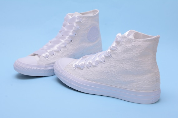 High Top Wedding Converse for bride, High Top Lace Converse For Reception