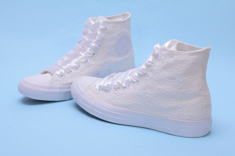 10f31d588cc1 High Top Wedding Converse for bride White Lace Converse high