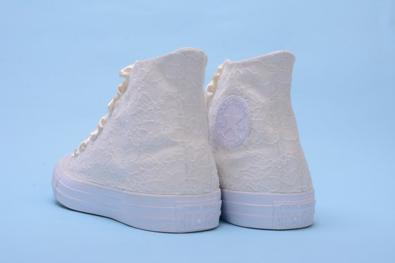 Ivory Bridal Converse High Top For Wedding, Lace Chucks For Reception