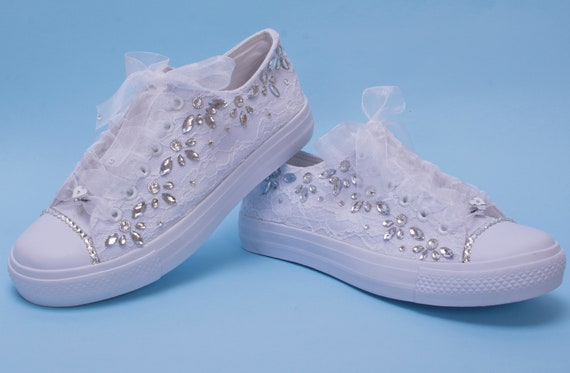 Bling Sneakers for Bride, White Lace wedding trainers with crystals
