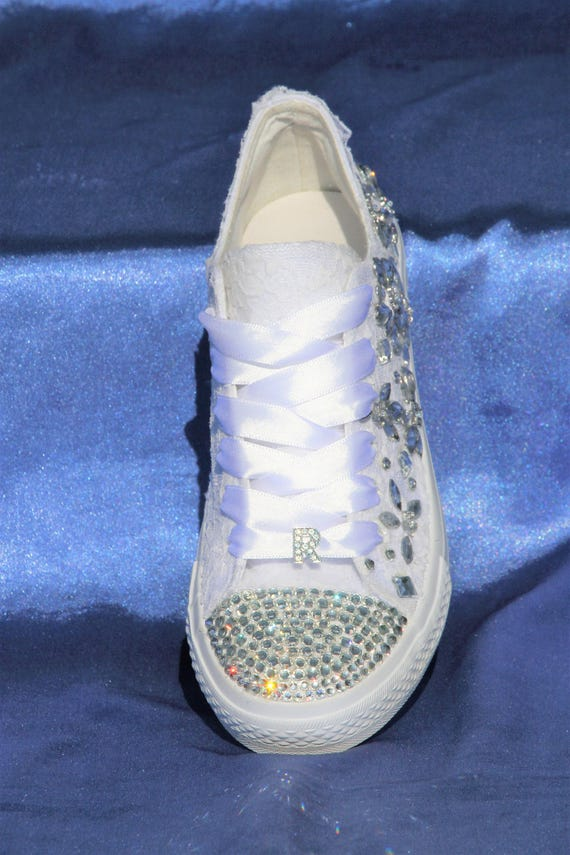 bride shoes Bridal Bridal sneakers sneakers Wedding tennis Rhinestone crystals for Wedding Lace sneakers with Trainers up sneakers aOR7Eq