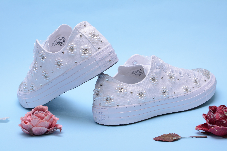 a4d5da0fd94f3 Custom Converse Sneakers for Bride, Pearl Converse Shoes, Bridal ...