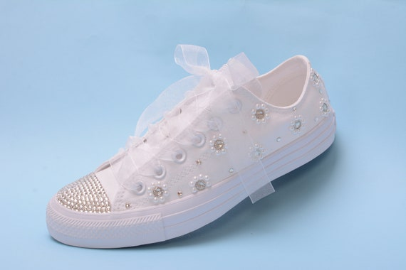 Custom Converse Sneakers for Bride Pearl Converse Shoes  135d61c18