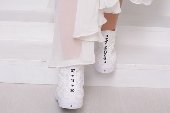 Luxury Ivory Wedding Converse High Top, Awesome Converse Shoes, Lace High Top Converse For Bride