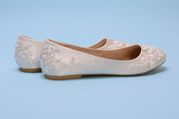 Ivory satin flat shoes for bride, Ivory wedding flats for dance