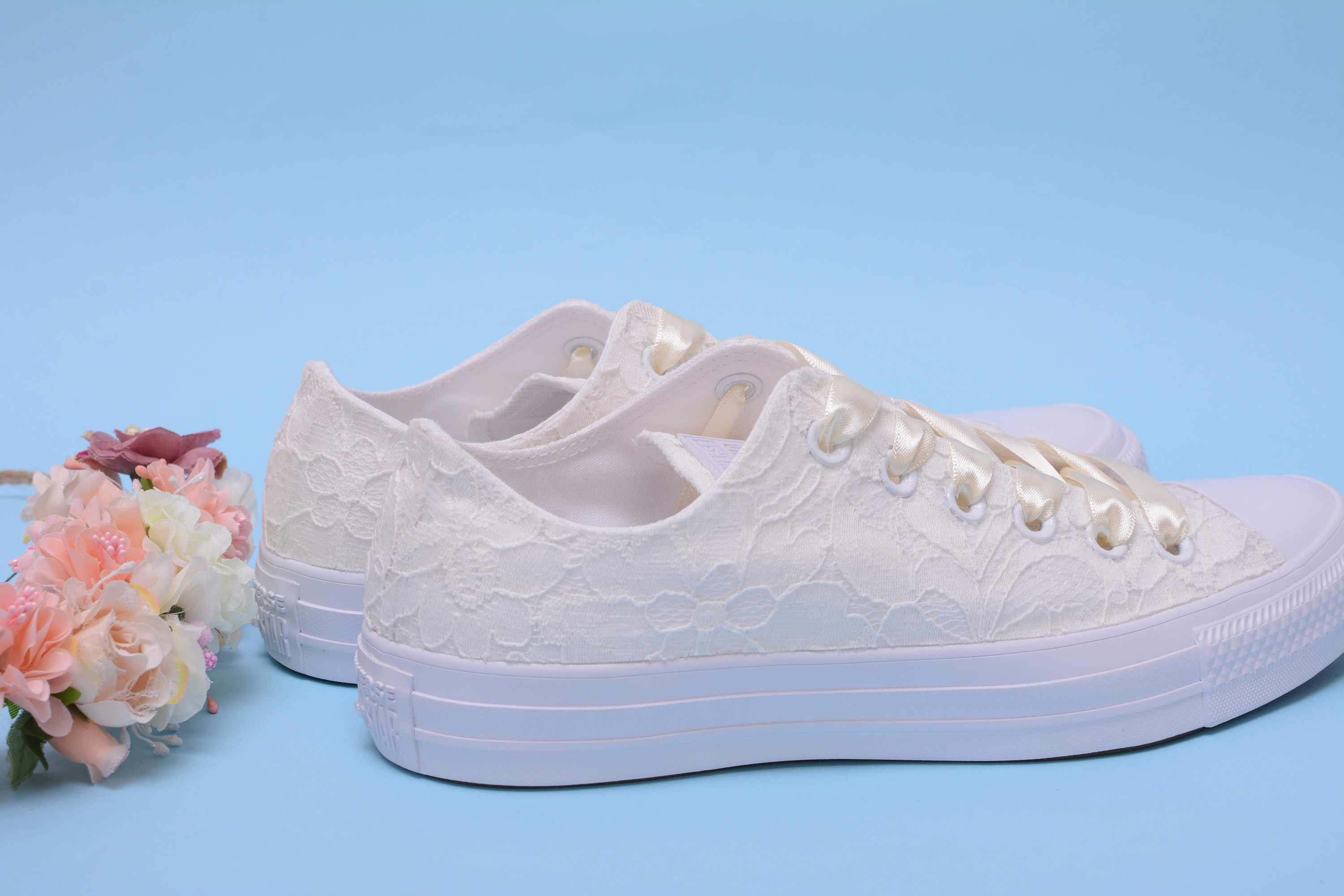 f6060349f135 Ivory Lace Wedding Converse For Bride Bridal Converse