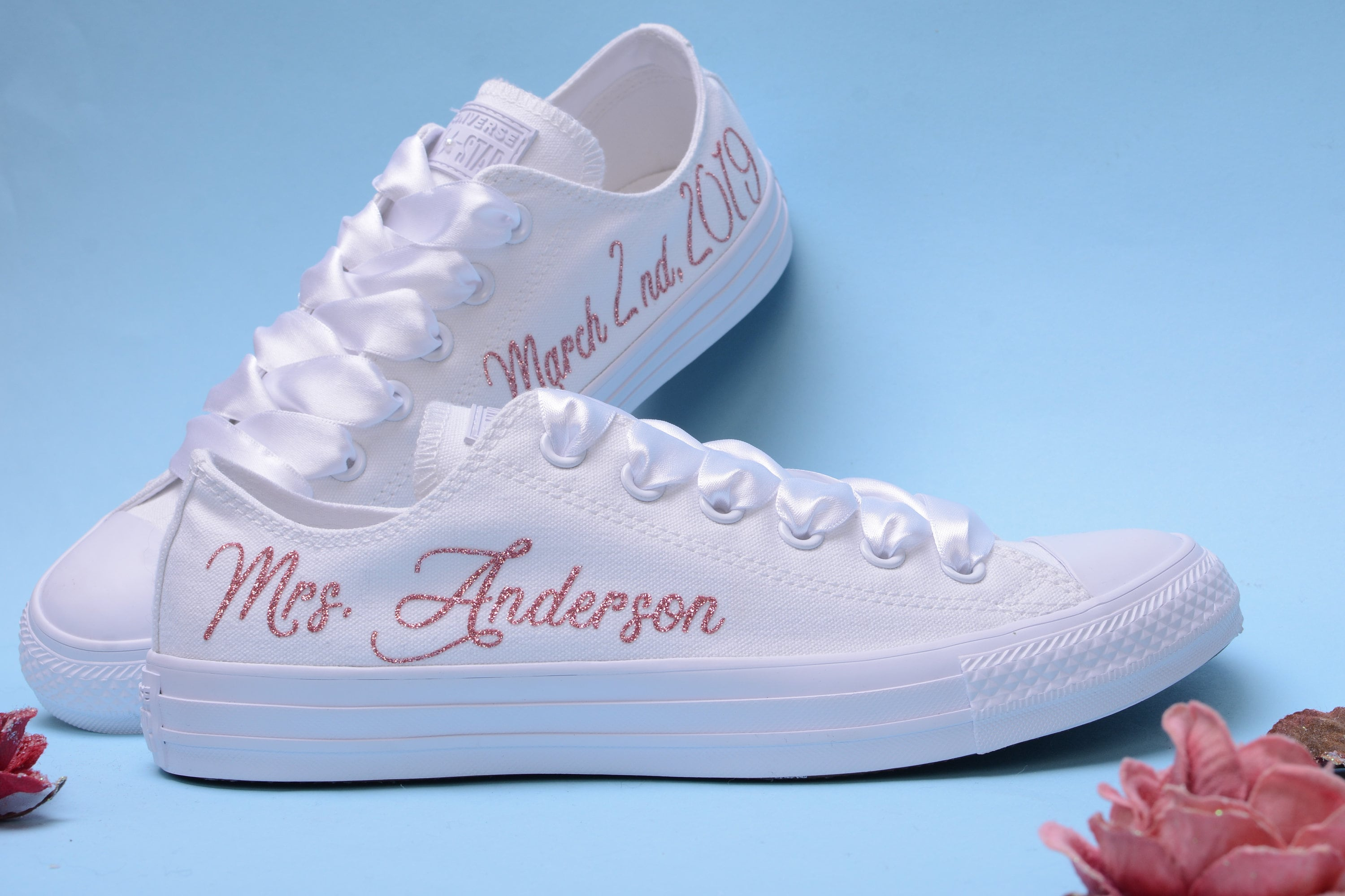 Personalized Converse shoes for Bride, Customised Converse, Monogrammed Converse, White Monochrome Bridal Converse