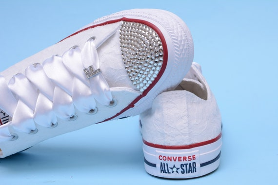 Custom Bling Wedding Sneakers For Bride, Bridal Converse With Rhinestones