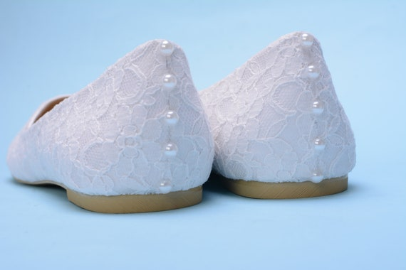 White Lace Flat Shoes For Bride, Flat Shoes Wedding, Bridal Shoes with Pearls