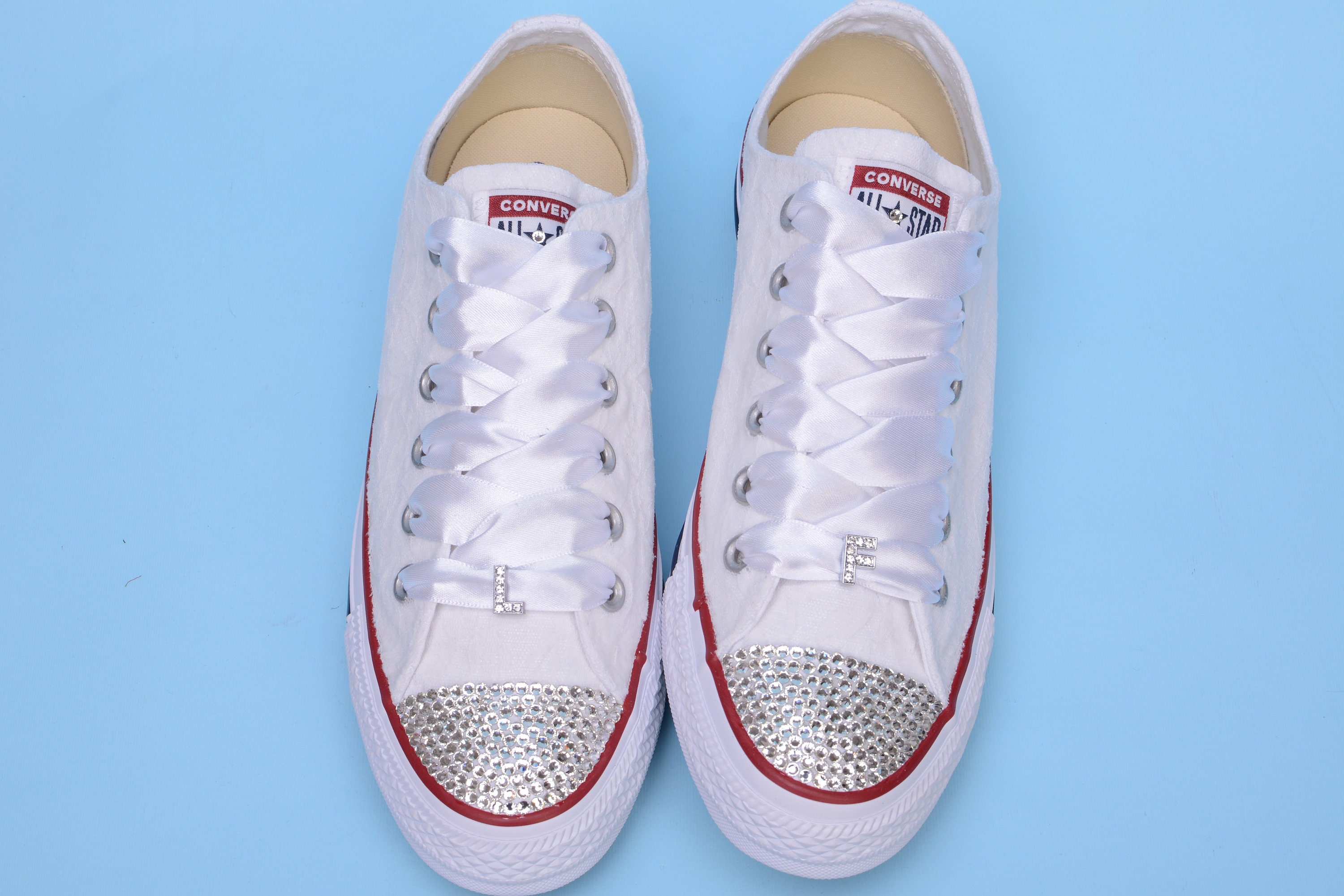 f965ffe784c34 Personalized Bling Wedding Sneakers For Bride, Lace Converse for ...