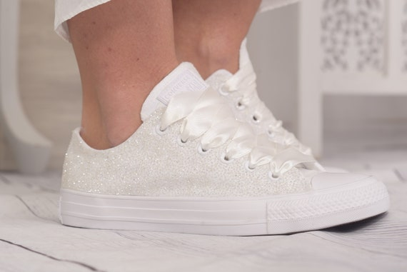 Ivory Lace Converse Shoes For Bride