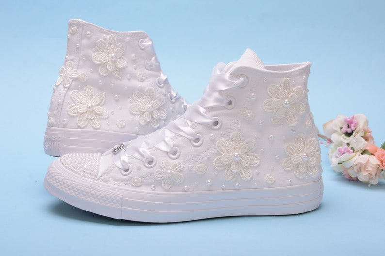 High Top Wedding Sneakers For Bride