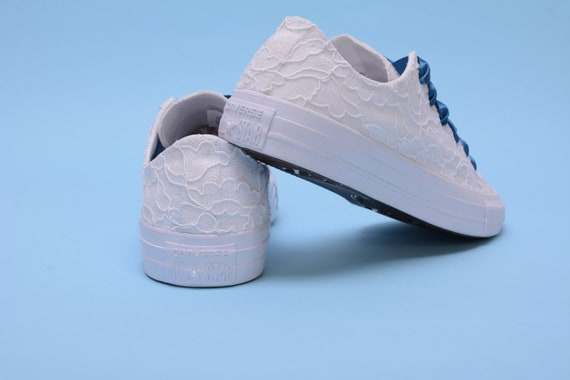 Lace wedding Converse shoes for bride with something blue, White Bridal Chuck Taylor's for Bridesmaid