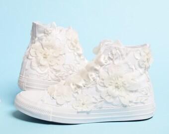 Luxury Bridal Converse, Bride Favorite Wedding Shoes, Lace Hight Top Converse For Bride