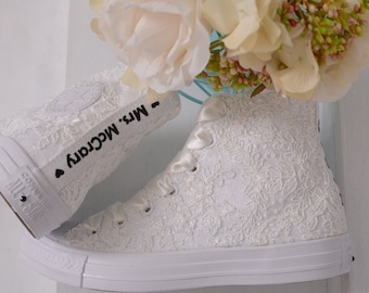 Custom Converse High Top Shoes For Bride, Luxory Ivory Wedding Converse For Bride With Lace, Bridal Sneakers with Dubai Lace