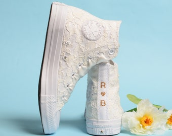 Lace Ivory Wedding Converse, Luxury Wedding Shoes For Reception, High Top Converse For Bride