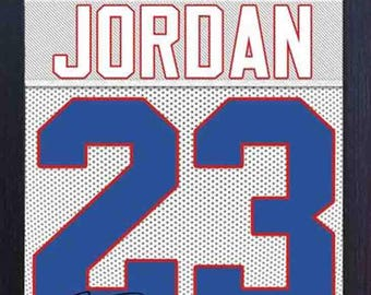 adecb3785 Michael Jordan Chicago Bulls ha firmato autografi NBA incorniciato 100%  cotone Canvas 0444