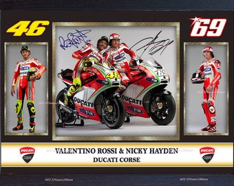28a331bc38f Nicky Hayden Valentino Rossi autograph signed photo picture FRAMED