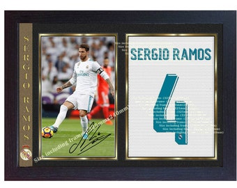 f9a36afc5b9 Sergio Ramos real madrid photo signed autograph print picture Framed MDF.