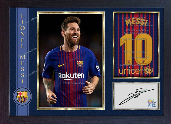 0bf542453e7 Lionel Messi new Barcelona autograph signed poster photo print