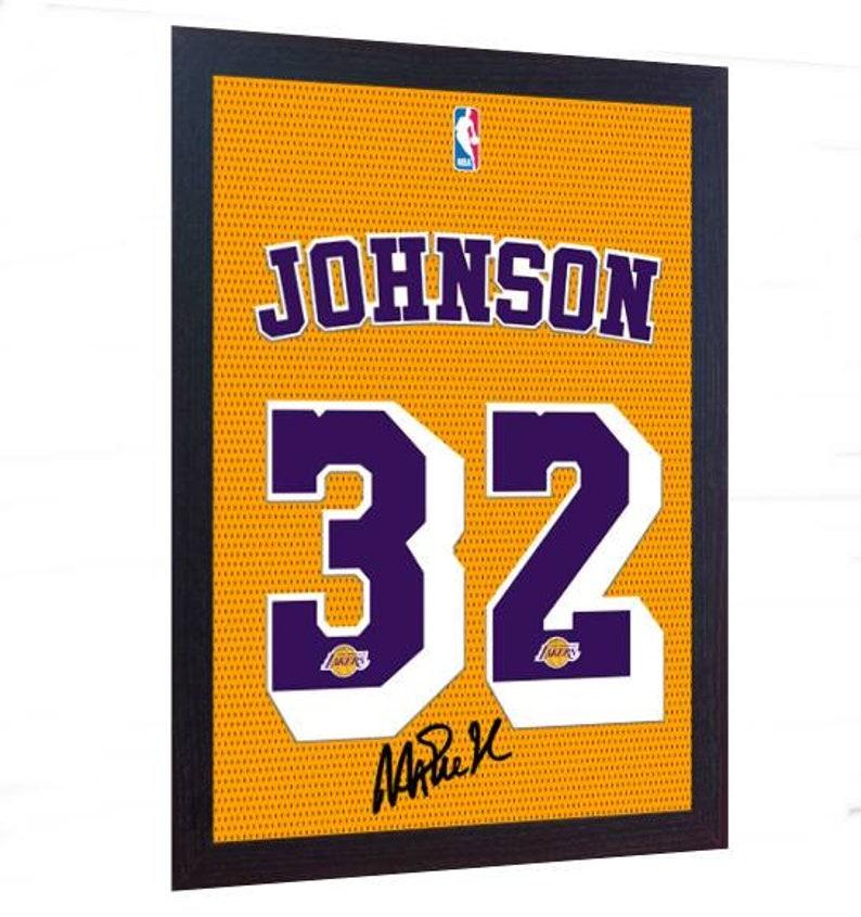 c35284ee274 Magic Johnson LA Lakers NBA signed autograph t-shirt CANVAS | Etsy