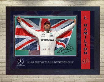 Lewis Hamilton signed autographed Mercedes AMG Formula 1 Petronas Framed (MDF) print