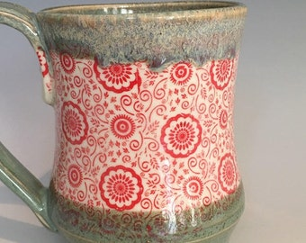 Turquoise & Red Pottery Mug - Hand Thrown