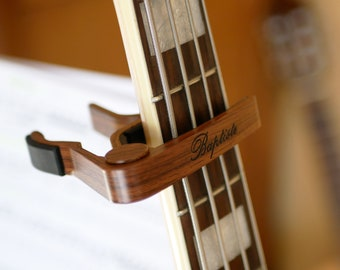 Personalized wood capo with your words engraved, custom wooden guitarist gift, name or quote or date can be engraved