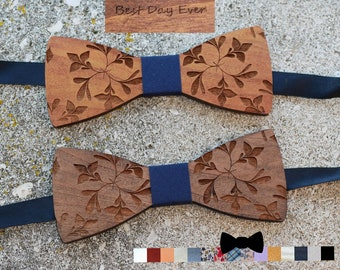 9b8429afe7f5 Engraved flowers wood Bow Tie, cherry wood from France, ribbon  personalized, men wedding gift