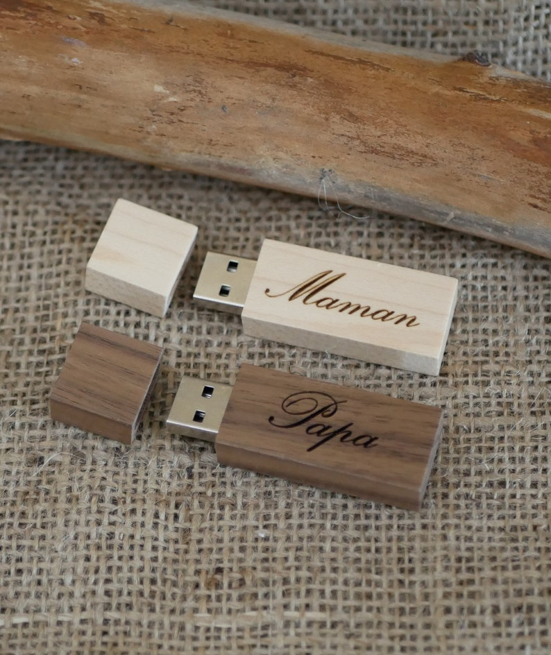 wood name personalized gift Gift customizez engrave wood USB flash drive stick 16 GB