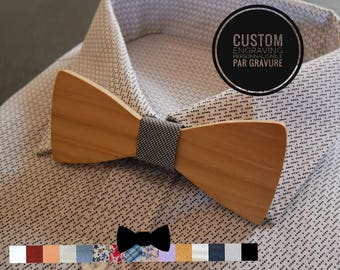 Natural wood Bow Tie,  personalized bowtie with love words engraving, men groom gift