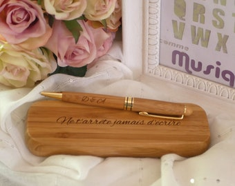 Wood case and pen personalized with name or quote, custom gift