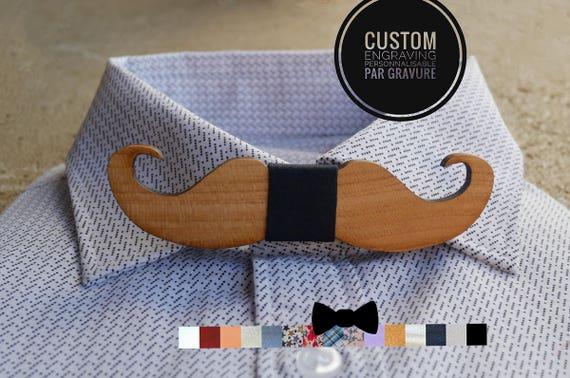 noeud papillon bois moustache