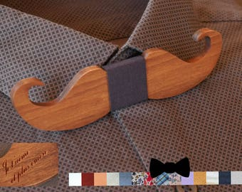 Mustach wood bow tie personalized with name engraved, men husband gift, custom bowtie