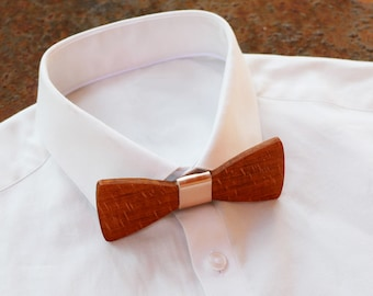 French wood bow tie, leather ribbon, can be personalized with name engraved, men husband gift, custom bowtie, alternative wedding