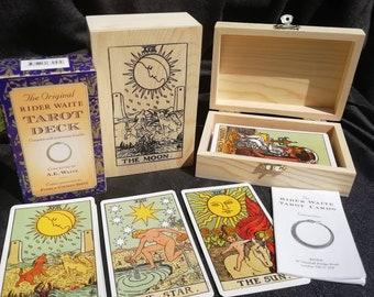 """A """"Tarot cards"""" tarot Deck. The tarot cards  gift set , 78 Cards + bag + guidebook +Handcrafted box designer box"""