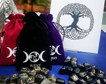 Rune stones gift set includes 21 page  guide book and free satin lined bag - runestones tarot
