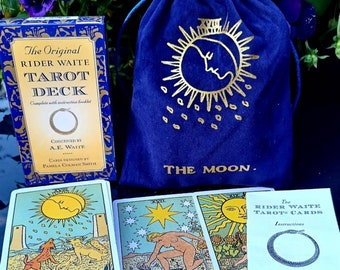 Tarot cards and guide the original tarot deck, 78 cards including velvet, satin lined pouch