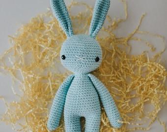 Baby Easter Gift - BLUE Crochet Rabbit - Ready To Ship - Amigurumi Plush Doll Toy